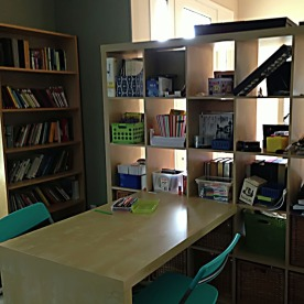 An organized homeschool area.