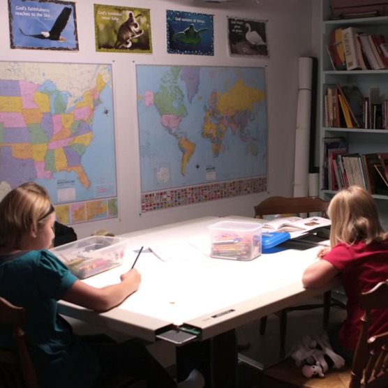 A basement schoolroom